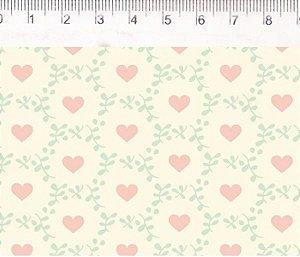 Tecido Patch Love Corações no Círculo VG028C01