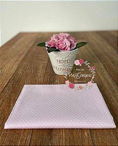 Tecido Poá pequeno rosa bebê com branco (12)