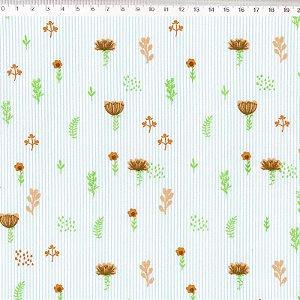 Coleção Botânica Floral Laranja com Listras - ES017C02