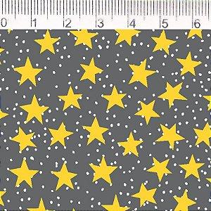 Tecido Estrelas fundo Cinza  - ES006C01