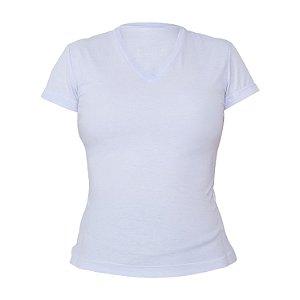 Kit 10 peças - Camiseta Gola V Poliéster Anti Pilling Branca Feminina