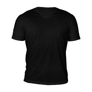 Kit 10 peças - Camiseta Gola V Poliéster Anti Pilling Preta Masculina