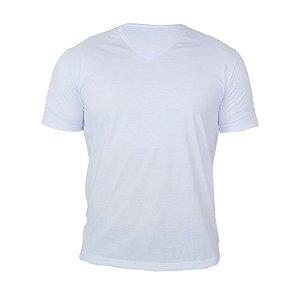 Kit 10 peças - Camiseta Gola V Poliéster Anti Pilling Branca Masculina
