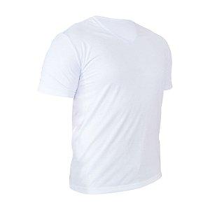 Camiseta Gola V Poliéster Anti Pilling Branca Masculina