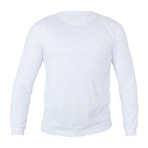 Camiseta Manga Longa Poliéster Anti Pilling Branca Masculina