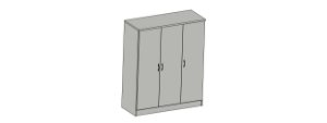 Armário alto três portas para escritório em MDP com prateleiras removíveis