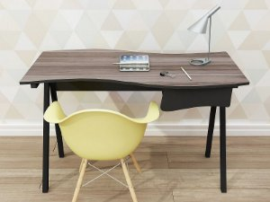 Escrivaninha reta Brisa com uma gaveta e pé metálico!