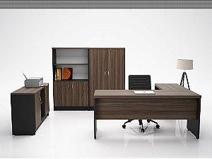 Kit escritório completo Linha New com 6 peças  em MDP 40 mm