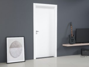 Kit porta pronta em Melamina Branca medindo 2100x800x90mm  com fechadura e dobradiça (aplicação em paredes de drywall)