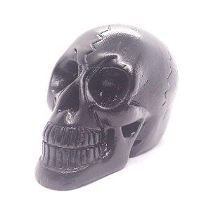 Crânio Preto 10cm de Gesso