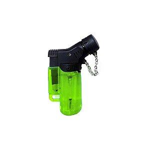 Isqueiro Mini Neon Torch Recarregável Maçarico com Gás Verde