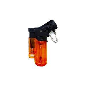 Isqueiro Mini Neon Torch Recarregável Maçarico com Gás Laranja