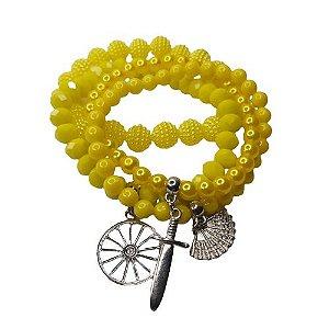 Conjunto de 4 pulseiras amarelo