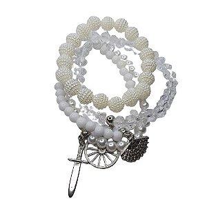 Conjunto de 4 pulseiras branco e cristal
