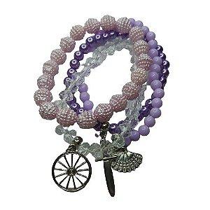 Conjunto de 4 pulseiras lilás