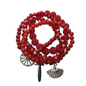 Conjunto de 4 pulseiras vermelho