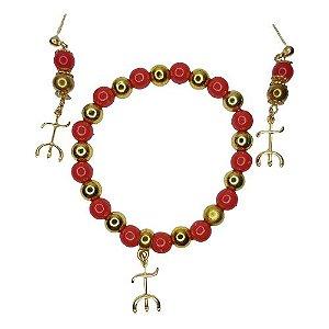 Conjunto pulseira e brinco vermelho e dourado Pomba Gira