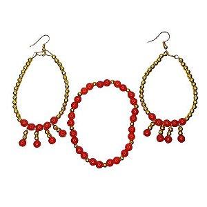 Conjunto pulseira e brinco vermelho com dourado Pomba Gira