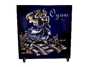 Azulejo de Ogum Azul 20cm com Suporte