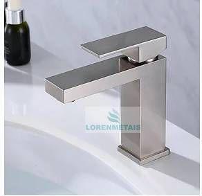 Torneira Monocomando Banheiro Quadrada Baixa Escovada - 7042