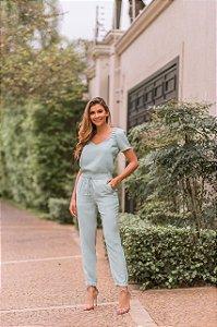 Conjunto blusa e calça verde