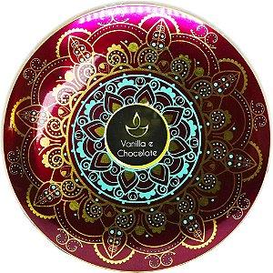 Vela perfumada Luz da Vida Vanilla chocola mandala roxa 250g
