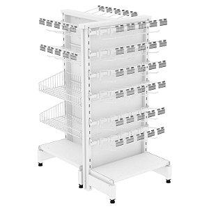 Expositor Check Stand Premium com Ganchos, Prateleiras e Cestos - Amapá
