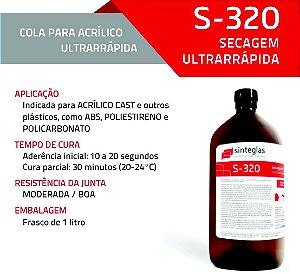 Cola Acrílica com 1L S320 - Acrílico Policarbonato Ps