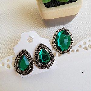 Anel e Brinco Pedra Verde Prata velho