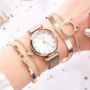 Kit Relógio Feminino Quartz Strass Fivela Magnética + 4 Pulseiras Luxo