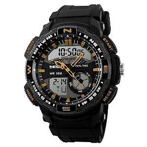 Relógio Masculino Skmei AnaDigi 1109 - Preto e Dourado