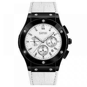 Relógio Masculino Skmei Analógico 9157 - Branco e Preto