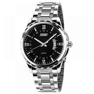 Relógio Masculino Skmei Analógico 9069 - Prata e Preto