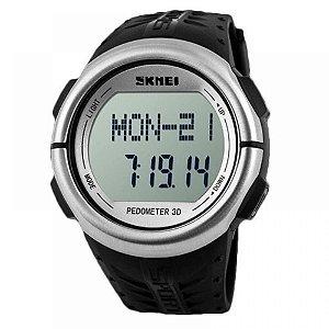 Relógio Pedômetro Masculino Skmei Digital 1058 - Preto e Prata