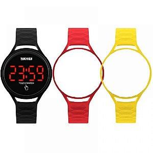Relógio Feminino Skmei Digital 1230 - Preto e Vermelho e Amarelo