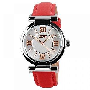 Relógio Feminino Skmei Analógico 9075 - Vermelho e Branco