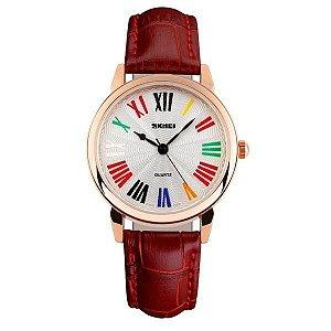 Relógio Feminino Skmei Analógico 1084 - Vermelho e Dourado