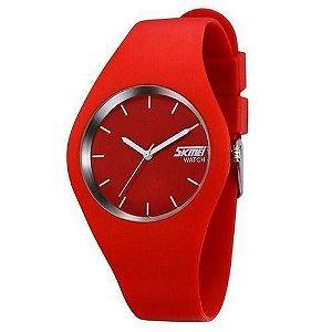 Relógio Feminino Skmei Analógico 9068 - Vermelho e Branco