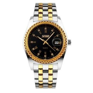 Relógio Feminino Skmei Analógico 9098 - Prata, Dourado e Preto