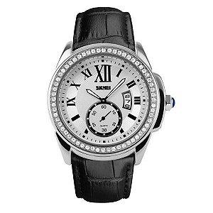 Relógio Feminino Skmei Analógico 1147 - Preto, Prata e Branco