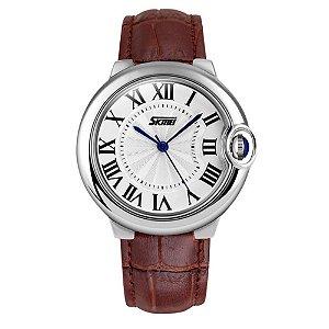 Relógio Feminino Skmei Analógico 9088 - Marrom e Prata