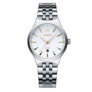 Relógio Feminino Skmei Analógico 9071 - Prata, Branco e Dourado