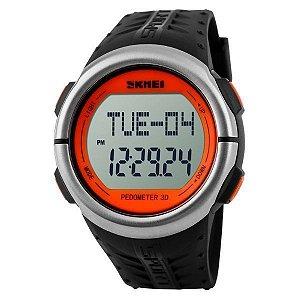 Relógio Pedômetro Unissex Skmei Digital 1058 - Preto e Laranja