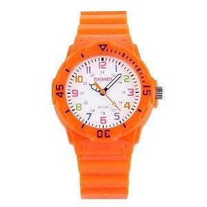 Relógio Infantil Menino Skmei Analógico 1043 - Laranja