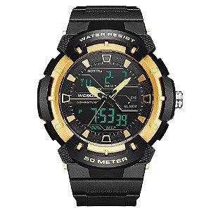 Relógio Masculino Weide AnaDigi WA3J8008 - Preto e Dourado