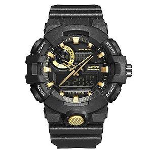 Relógio Masculino Weide AnaDigi WA3J8007 - Preto e Dourado