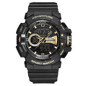 Relógio Masculino Weide AnaDigi WA3J8002 - Preto e Dourado