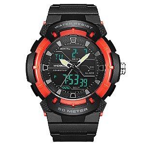 Relógio Masculino Weide AnaDigi WA3J8008 - Preto e Vermelho