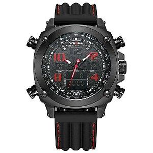 Relógio Masculino Weide AnaDigi WH 5208 - Preto e Vermelho