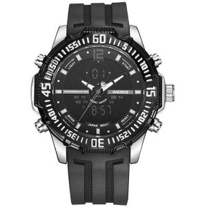 Relógio Masculino Weide AnaDigi WH-6105 - Preto e Prata